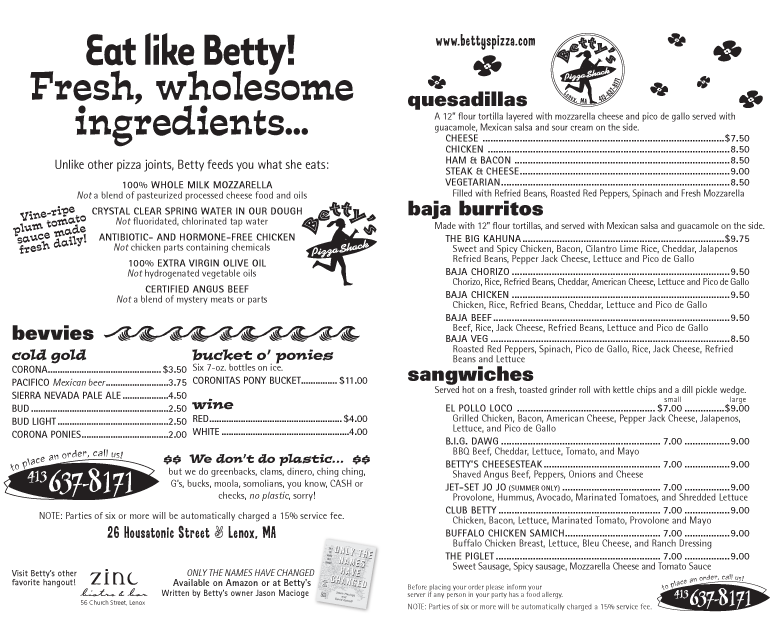 Betty's Menu 1